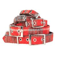 Hundehalsband Harris Tweed rot